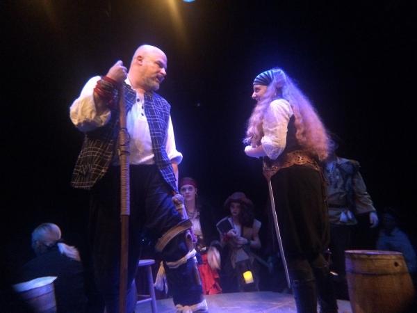 JOHN MUNN (Long John Silver), STEPHANIE HUBER (Israel Hands) and the Ensemble Cast Photo